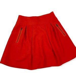 Anthro Maeve ponte red pleated skater skirt